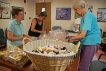 volunteers making giftbags