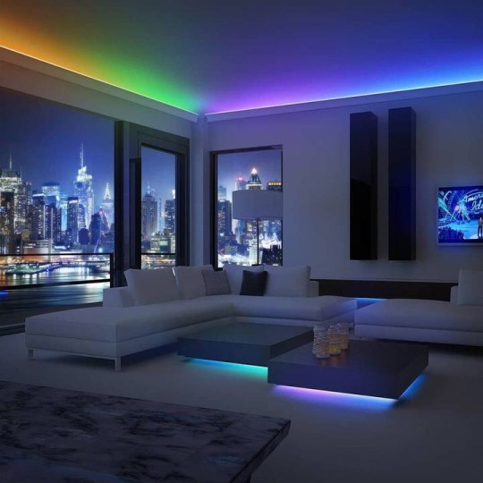 Led strip ceiling living room