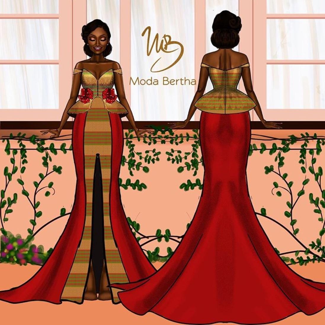 moda bertha dress sketch