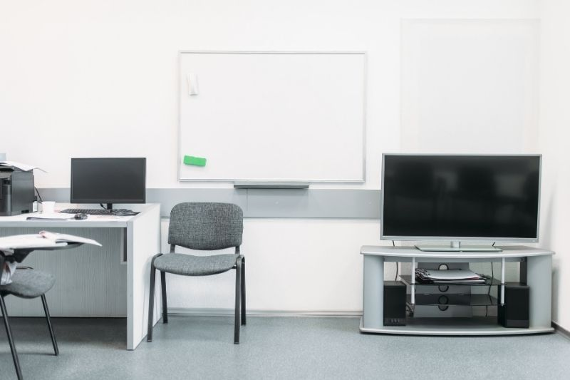 business office with modern equipment