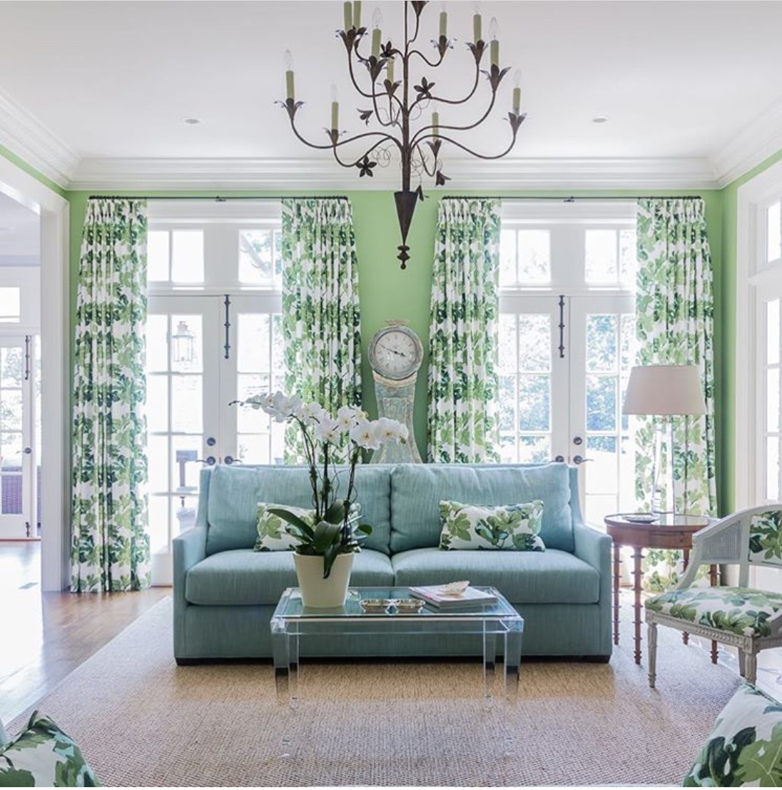 green curtains living room