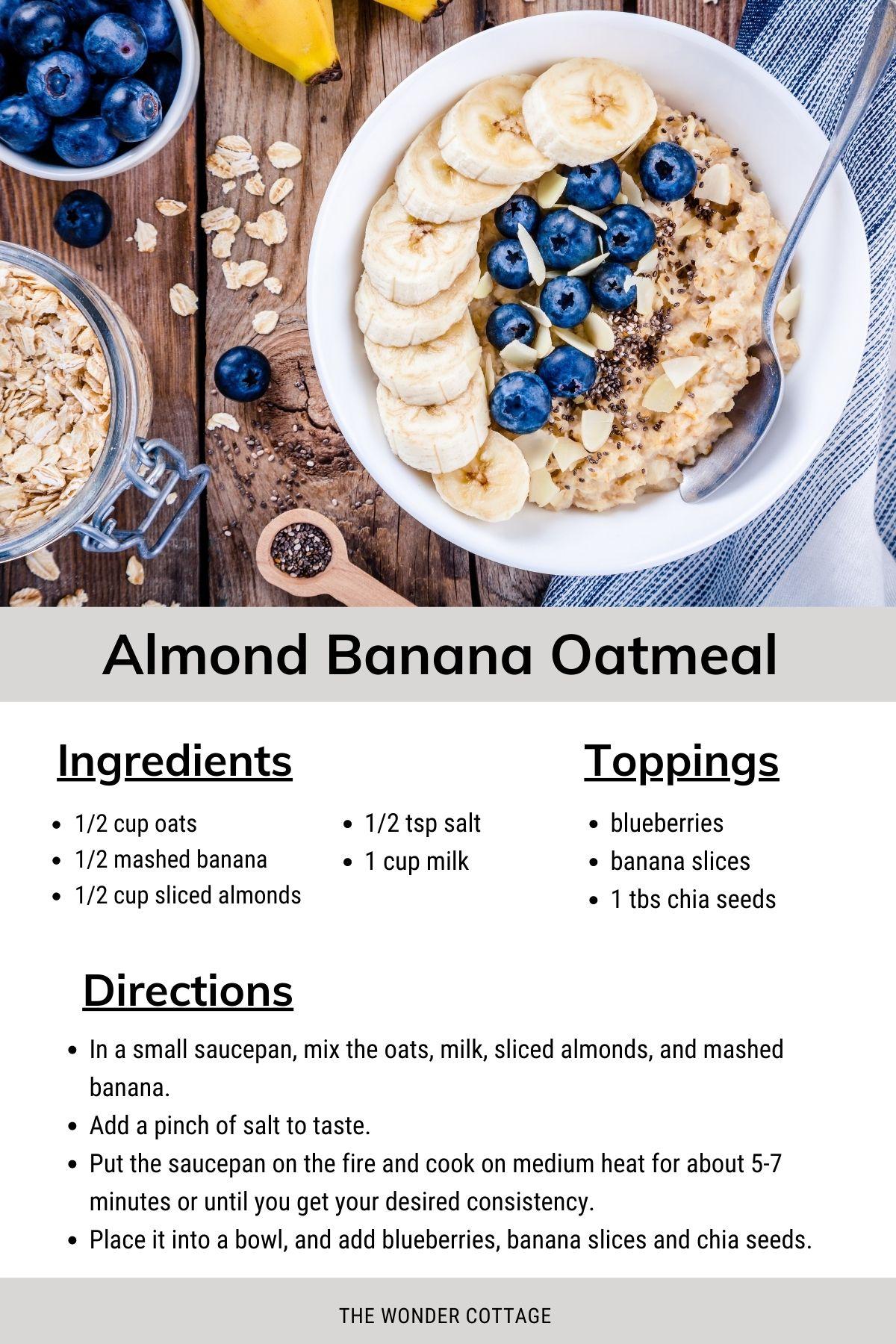 almond banana oatmeal recipe