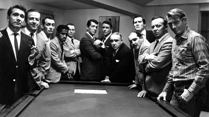 Mandatory Credit: Photo By EVERETT COLLECTION / REX FEATURES Richard Conte, Joey Bishop, Sammy Davis Jnr, Frank Sinatra, Dean Martin, Peter Lawford, Akim Tamiroff, Henry Silva and Norman Fell in 'Ocean's Eleven' - 1960 VARIOUS FILM STILLS UK, EIRE, TURKEY, SOUTH AFRICA, HONG KONG, CROATIA ONLY No Merchandising. Editorial Use Only ON SET