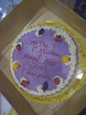 An ube (purple yam) Christmas cake