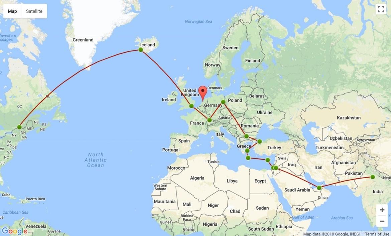 L'itinéraire des 5 premiers mois de notre tour du monde