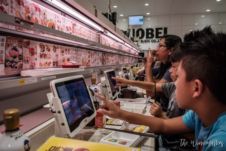 Conveyor Belt Sushi at Uobei Shibuya Dogenzakam,Tokyo