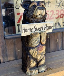 Bear with sign Chainsaw Carving