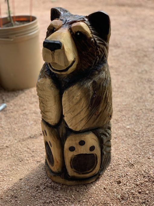 Sitting Bear Wood Carving