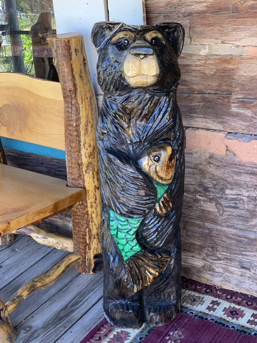 Bear with Fish Chainsaw Carving