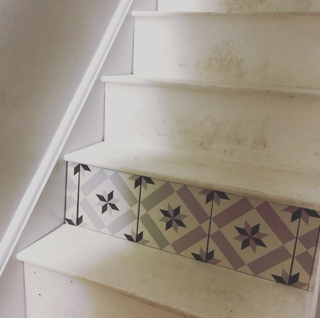 Tiled stair risers.