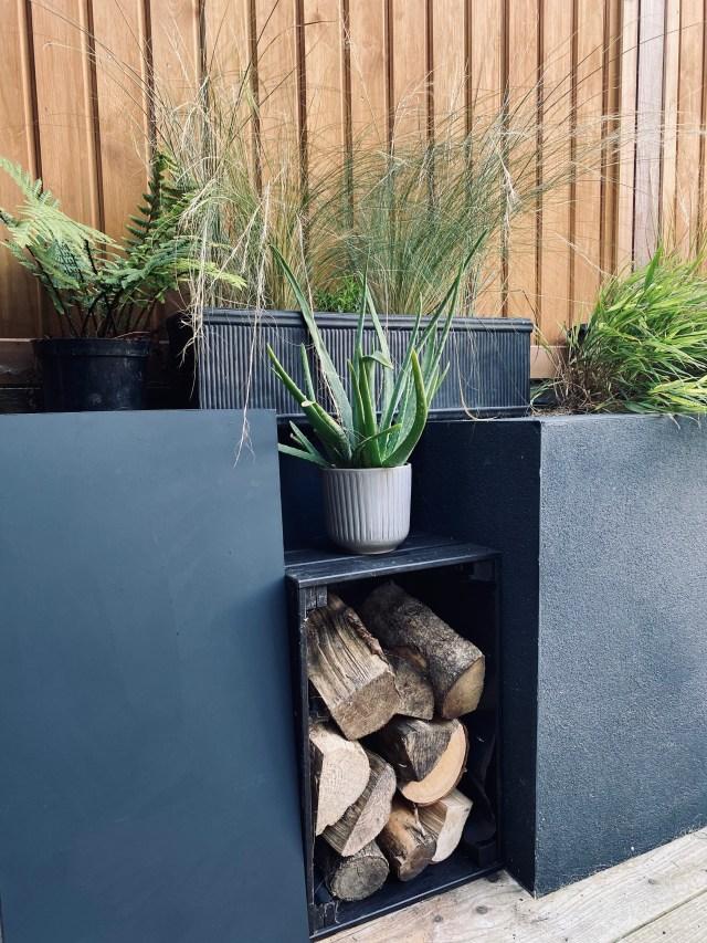 Folding garden table.