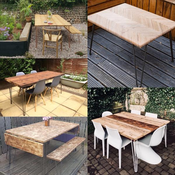 Examples of garden tables and chairs using hairpin legs.