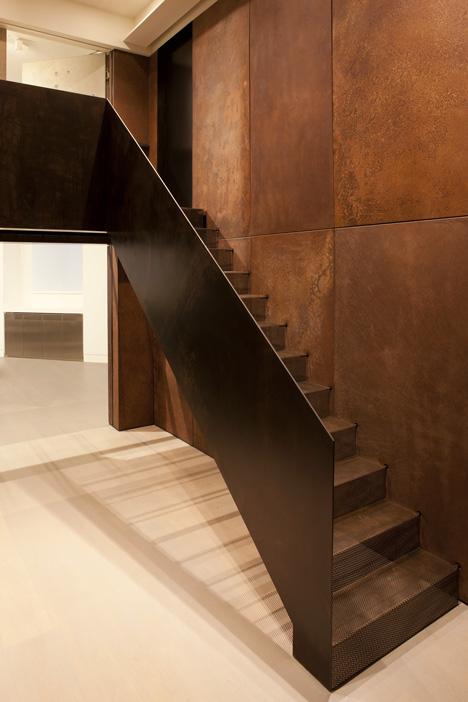 Corten steel stairs.