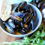 Mussels in White Wine Sauce with Smoked Paprika and Crusty French Bread