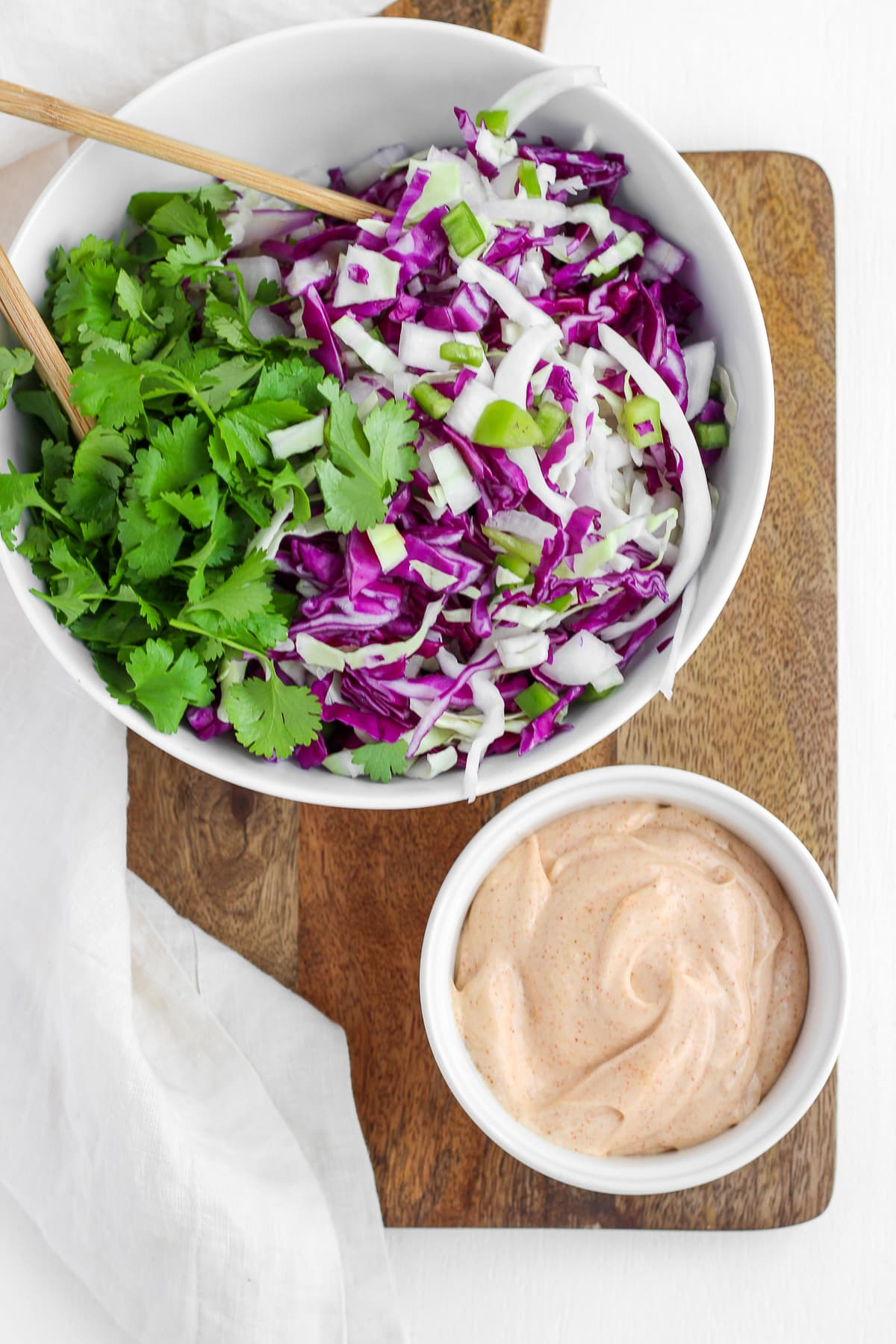 Creamy Purple Cabbage Coleslaw with Cilantro and Anaheim Peppers - the perfect coleslaw for any meal! #whole30 #coleslaw #cookout