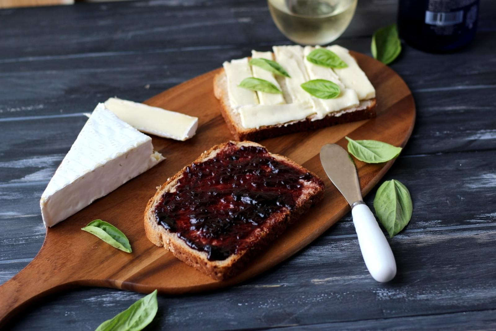 Baked Brie Grilled Cheese Sandwich with Sweet Basil and Boysenberry Jam