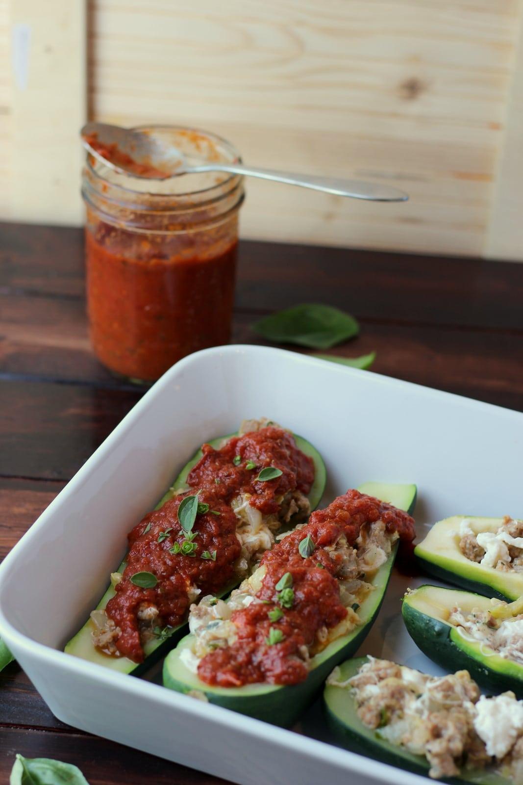 Stuffed Zucchini - thewoodenskillet.com #zucchini #sausage #dinner