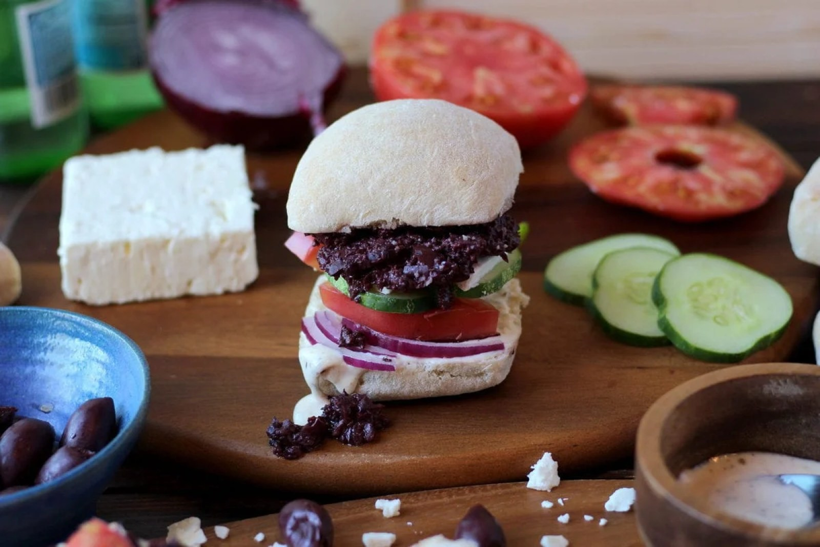 Greek Salad Sandwich with Kalamata Olive Tapenade and Greek Aioli - The Wooden Skillet thewoodenskillet.com #lunch
