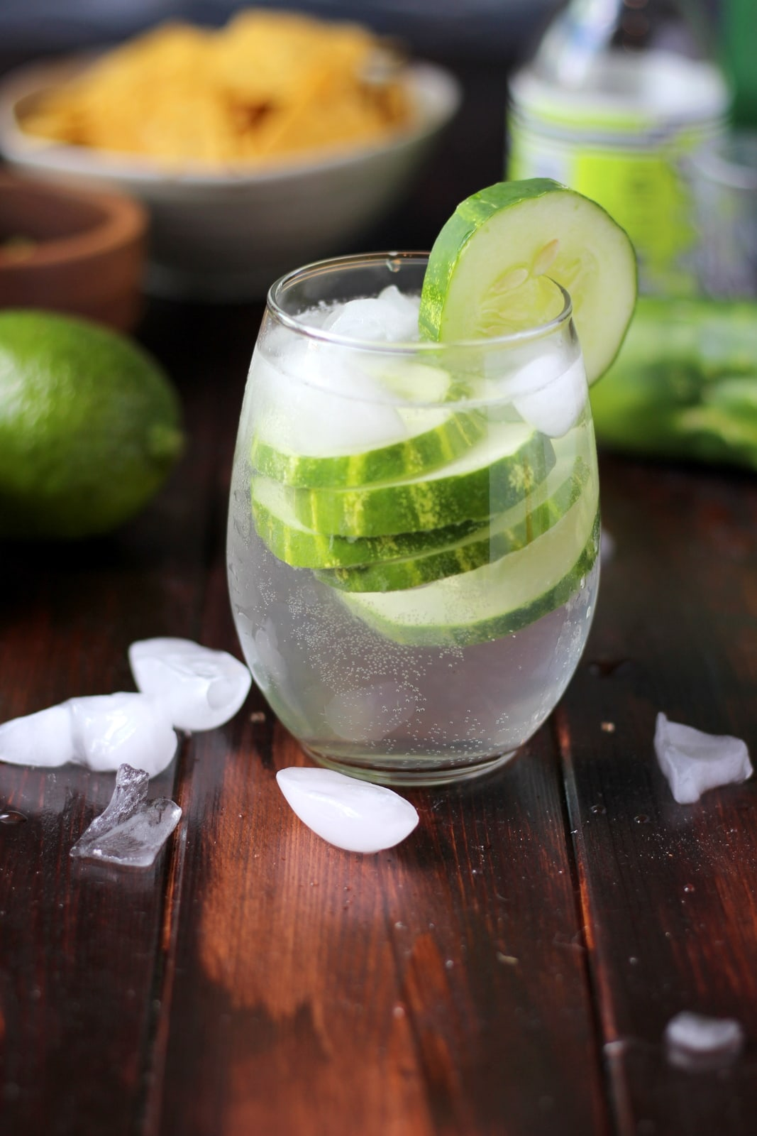 Cucumber Vodka Water with Soda - thewoodenskillet.com #cocktail