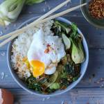 Braised Bok Choy, Leek and Spinach Rice Bowl with Poached Egg