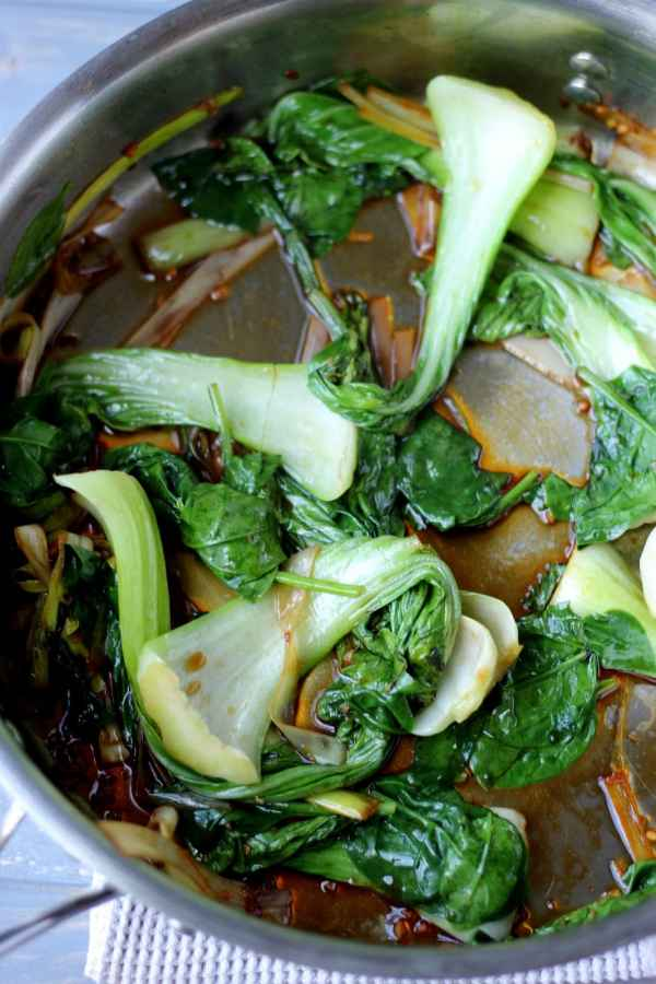 Braised baby bock choy, leeks and spinach