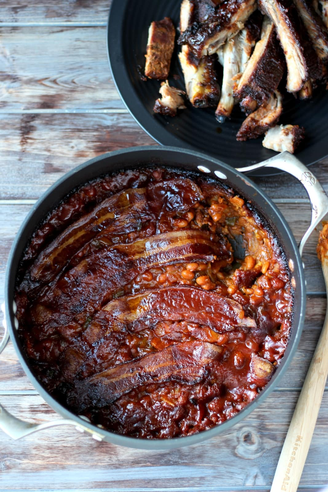 Homemade Baked Beans + Thick Cut Bacon - thewoodenskillet.com