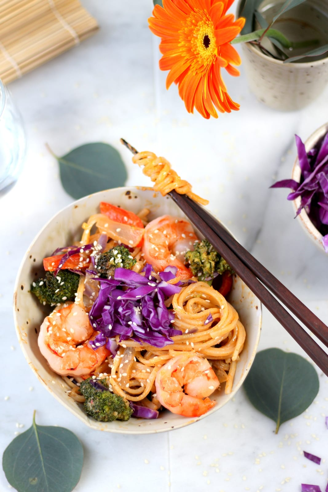 Sweet Curried Rice Noodles +Shrimp and Roasted Vegetables - amazing recipe for Bangkok Curry noodles.   thewoodenskillet.com #foodphotograhy #foodstyling