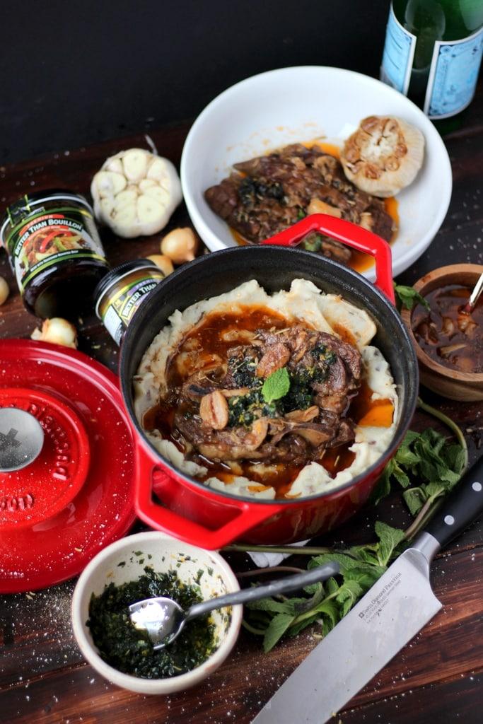 Braised Lamb Shoulder + Mint Gremolata and Roasted Garlic Mashed Potatotes - the perfect holiday meal! thewodenskillet.com