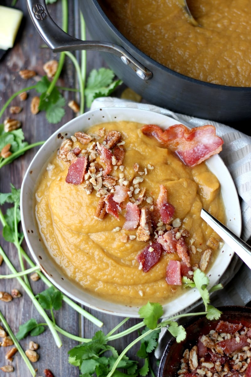 Creamy Winter Soup + Candied Bacon and Pecans - with sweet potatoes and rutabaga, the perfect comfort food! thewoodenskillet.com