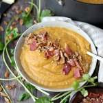 Creamy Winter Soup + Candied Pecans and Bacon