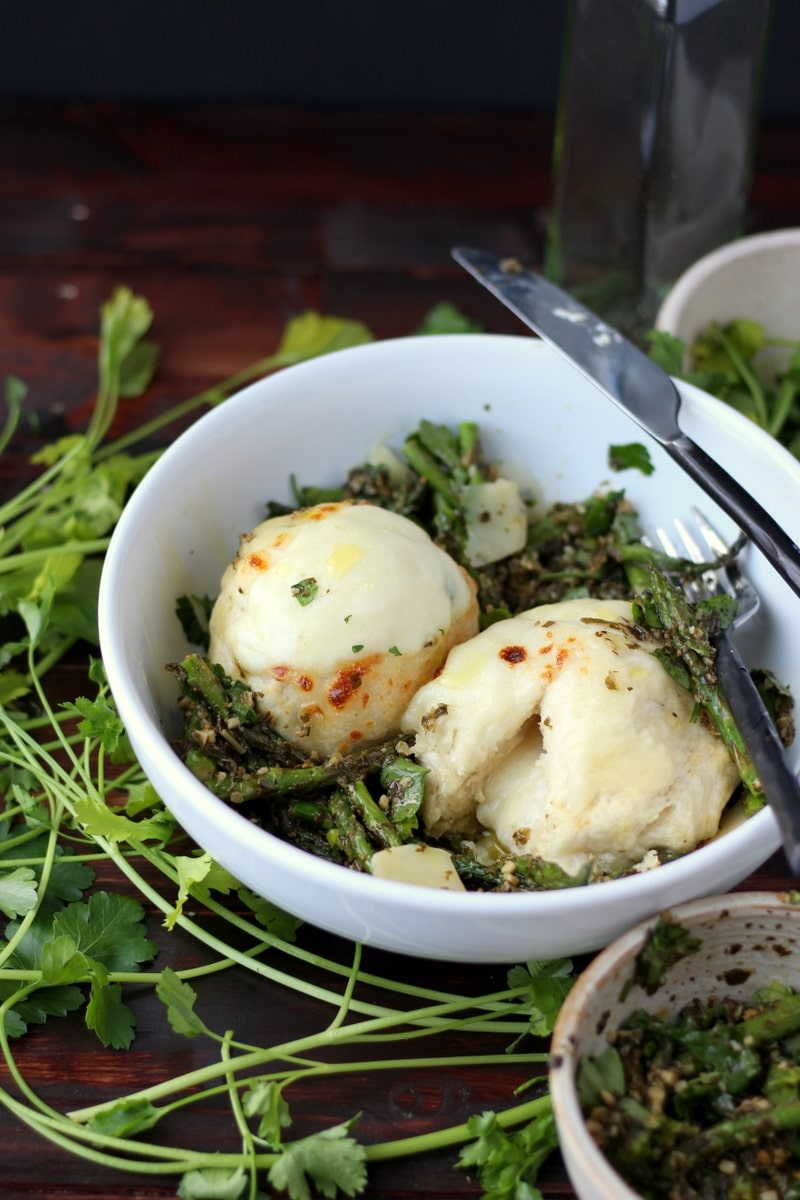 Cheese-Stuffed Dumplings + Pesto and Roasted Asaparagus
