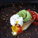 Spicy Avocado Toast + Roasted Tomatoes and Poached Egg