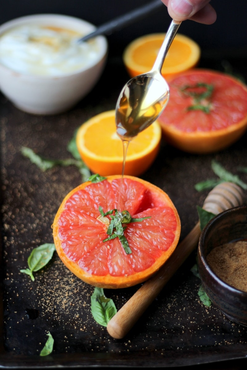 Caramelized Grapefruit + Basil and Honey - thewoodenskillet.com