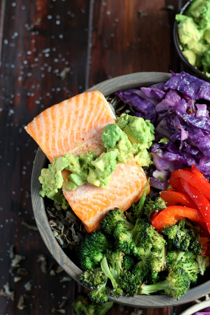 Salmon Power Bowl + Roasted Vegetables and Avocado - a healthy and delicious bowl of nutrients perfect for lunch or dinner. thewoodenskillet.com #salmon