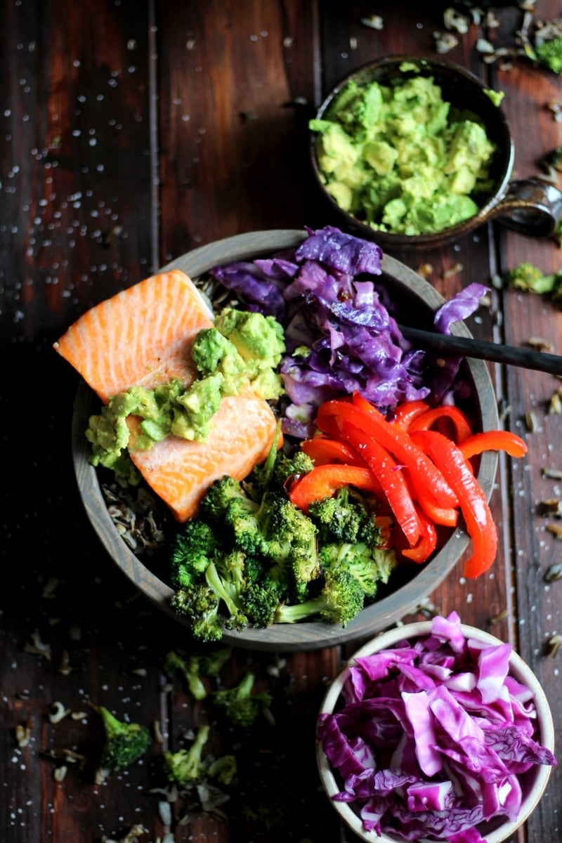 Vibrant Salmon Power Bowl + Veggies and Avocado