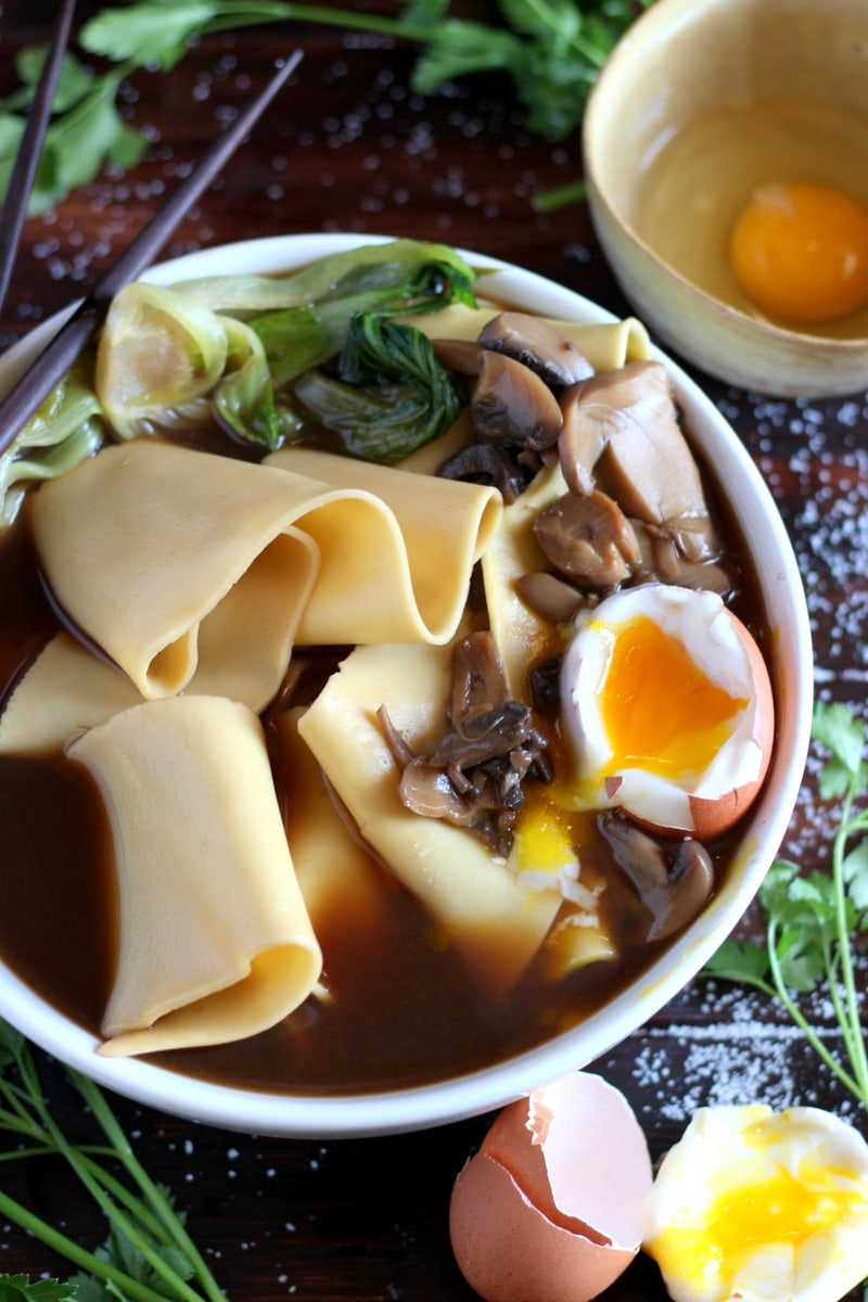 Thick-Cut Noodles + Bone Broth, Mushrooms and Soft Boiled Egg. thewoodenskillet.com