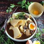 Thick-Cut Noodles + Bone Broth, Mushroom and Soft-Boiled Egg