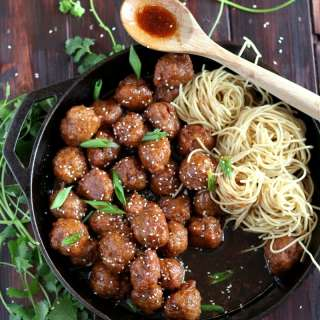 Sesame Soy Ginger Pork Meatballs + Noodles. A delicious and flavorful meatball recipe that your family will love!