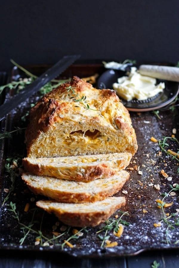 Cheesy Irish Soda Bread + Fresh Thyme and Rosemary