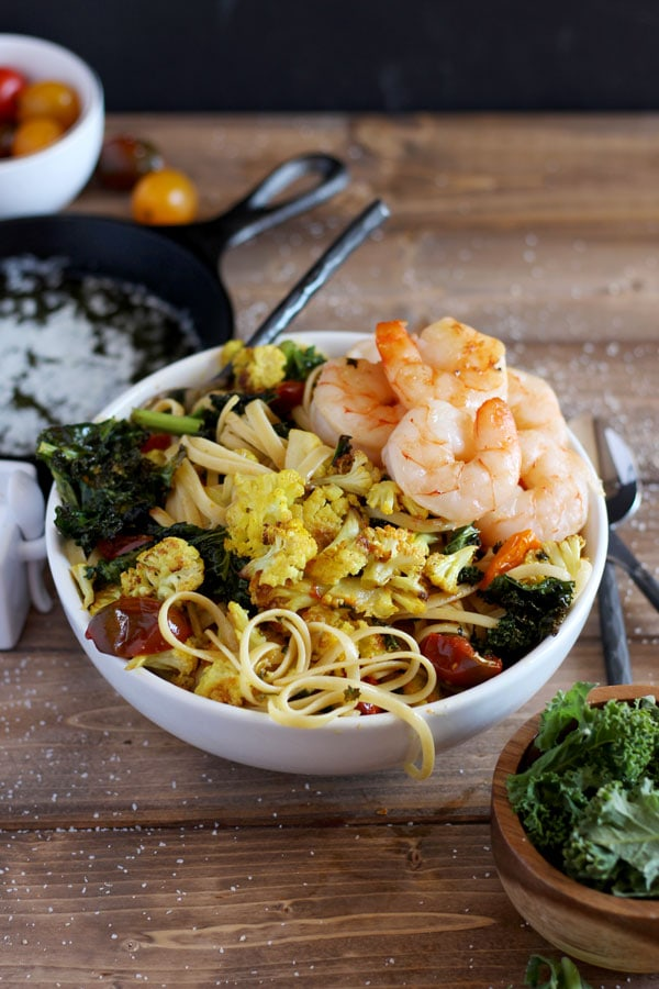 Roasted Turmeric Cauliflower, Kale and Shrimp Pasta + Brown Butter