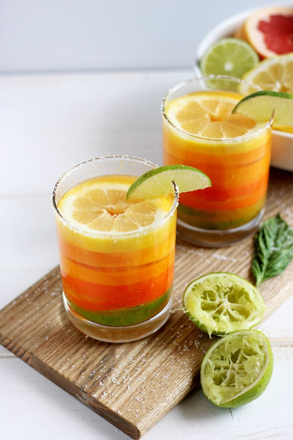 Simple Citrus Basil Margarita - a light and refreshing cocktail for summer or Cinco de Mayo! thewoodenskillet.com #foodphotography