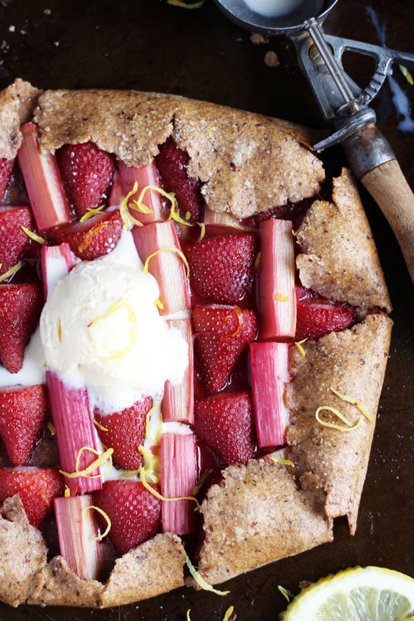 Strawberry Rhubarb Galette + Vanilla Bean Ice Cream - thewoodenskillet.com #foodphotography
