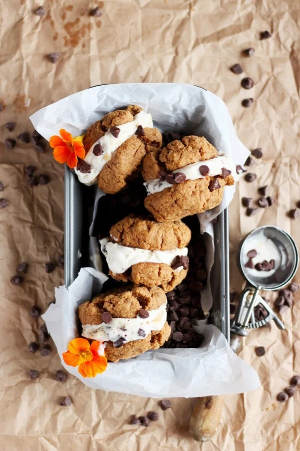 Dairy Free Almond Butter Cookie Ice Cream Sandwiches