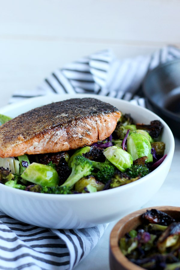 Crispy Pan-Seared Salmon + Charred Broccoli and Brussel Sprouts - thewoodenskillet.com