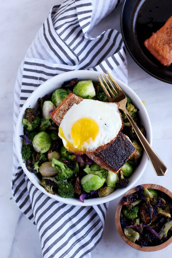 Crispy Pan-Seared Salmon + Charred Broccoli and Brussel Sprouts