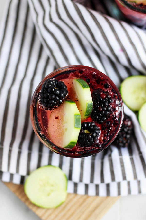 Blackberry Cucumber Gin and Tonic - a sweet, crisp version of the classic cocktail! thewoodenskillet.com