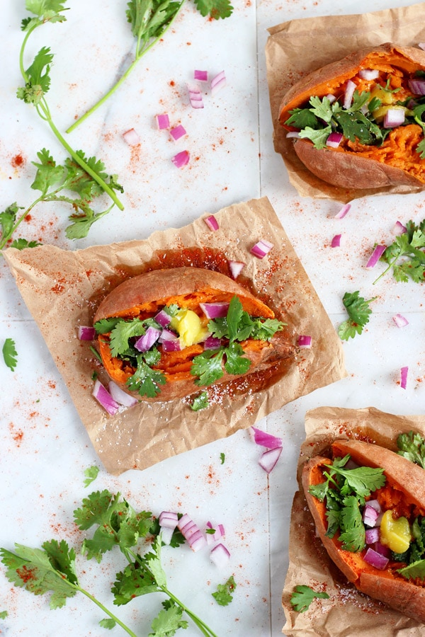 Ghee and Cilantro Stuffed Sweet Potatoes