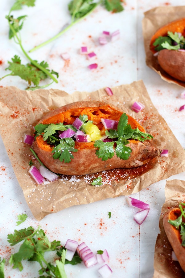 Ghee and Cilantro Stuffed Sweet Potato
