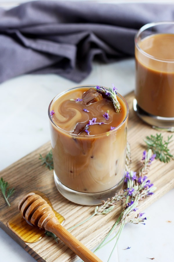 Honey Lavender Cold Brew Latte - the perfect summer drink! thewoodenskillet.com