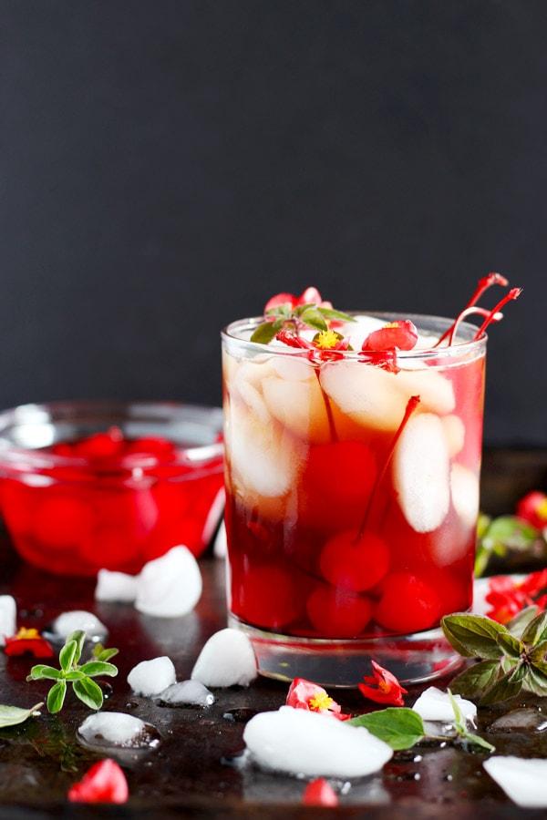 Fall Cherry Kombucha Boulevardier - a cozy fall bourbon drink! thewoodenskillet.com